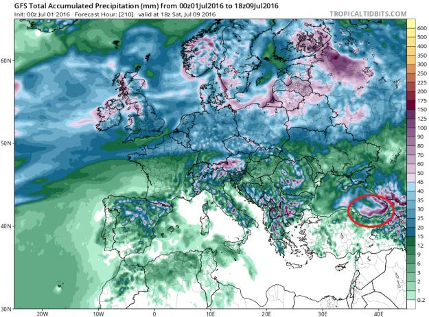 9 Temmuz akşamına kadar olan toplam yağış.
